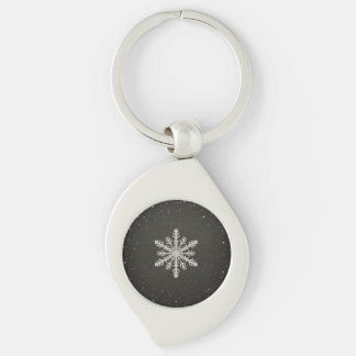 Winter Snowflake White Chalk Drawing Keychain