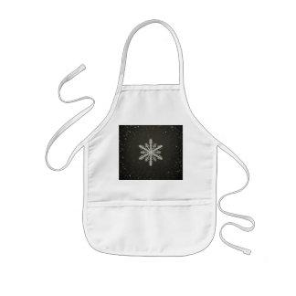 Winter Snowflake White Chalk Drawing Kids' Apron