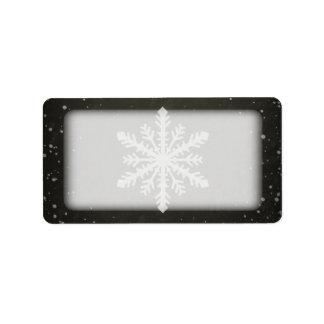 Winter Snowflake White Chalk Drawing Label