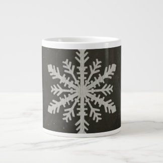 Winter Snowflake White Chalk Drawing Large Coffee Mug