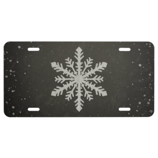 Winter Snowflake White Chalk Drawing License Plate