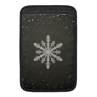 Winter Snowflake White Chalk Drawing MacBook Sleeve