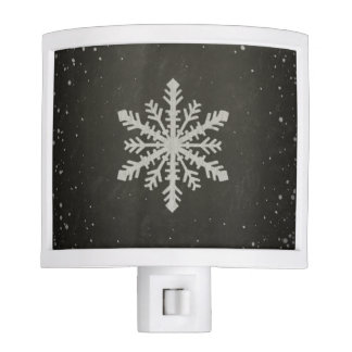 Winter Snowflake White Chalk Drawing Night Light