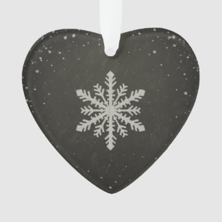 Winter Snowflake White Chalk Drawing Ornament