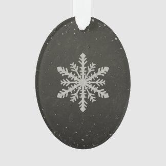 Winter Snowflake White Chalk Drawing Ornament