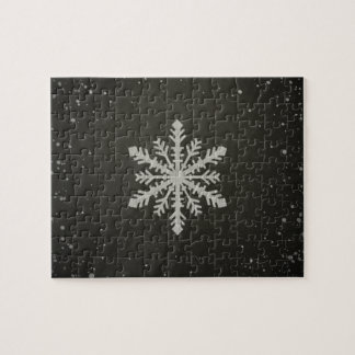 Winter Snowflake White Chalk Drawing Puzzle