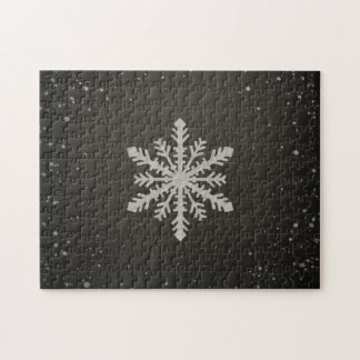 Winter Snowflake White Chalk Drawing Puzzles