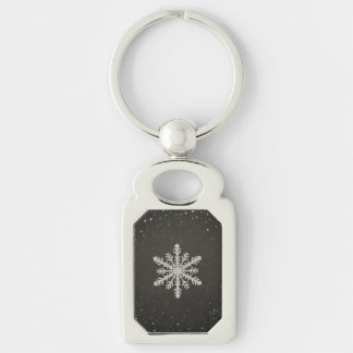 Winter Snowflake White Chalk Drawing Silver-Colored Rectangular Metal Keychain