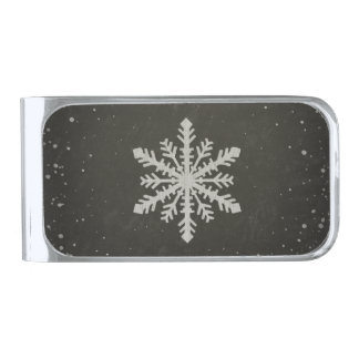 Winter Snowflake White Chalk Drawing Silver Finish Money Clip