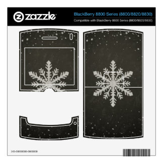 Winter Snowflake White Chalk Drawing BlackBerry Skin