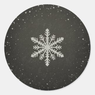 Winter Snowflake White Chalk Drawing Round Sticker