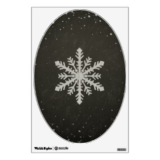 Winter Snowflake White Chalk Drawing Wall Decal