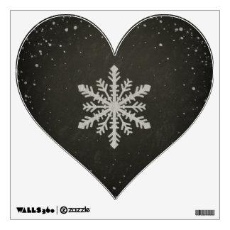 Winter Snowflake White Chalk Drawing Wall Sticker