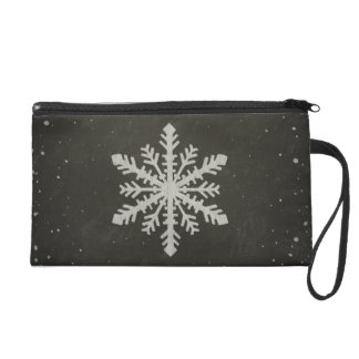 Winter Snowflake White Chalk Drawing Wristlet Purse