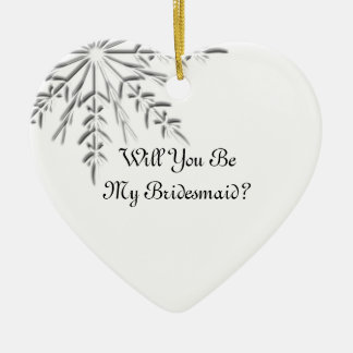 Winter Snowflake Will You Be My Bridesmaid Double-Sided Heart Ceramic Christmas Ornament
