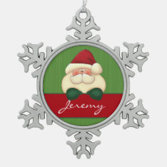 Winter Snowflake with Santa and Name Snowflake Pewter Christmas Ornament at Zazzle
