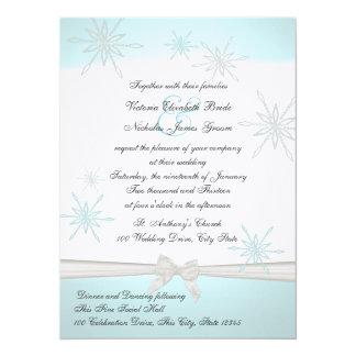 "Winter Snowflakes and Ribbon Wedding 5.5"" X 7.5"" Invitation Card"