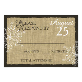 Winter Snowflakes and Warm Burlap Response Card