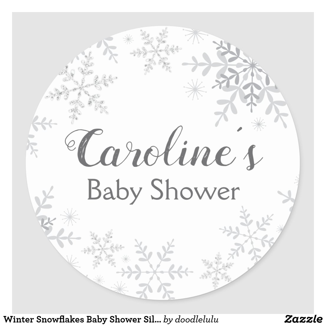 Winter Snowflakes Baby Shower Silver Glitter Classic Round Sticker