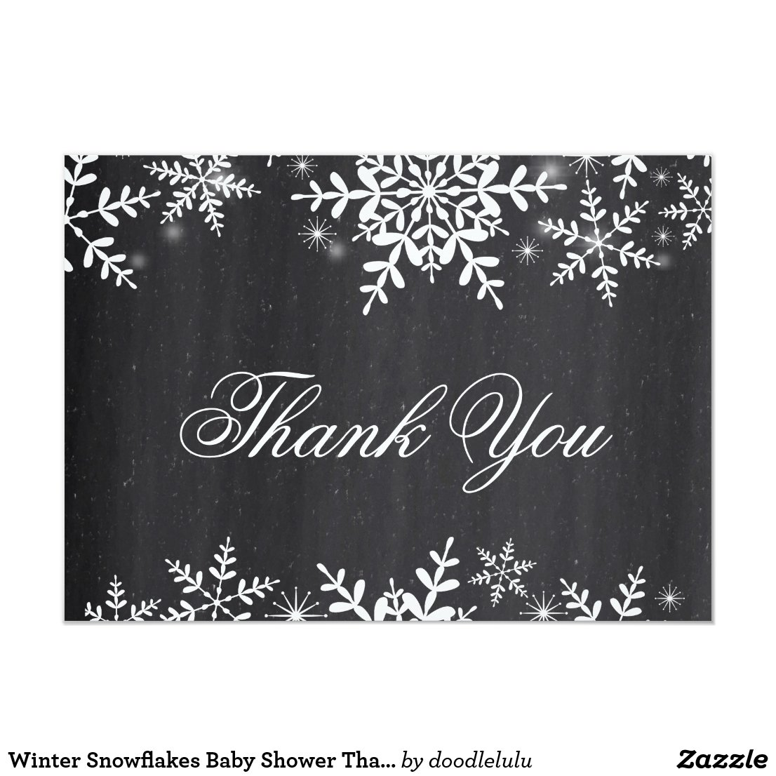 Winter Snowflakes Baby Shower Thank You Note Invitation