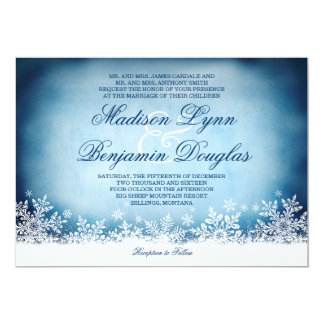 Winter Snowflakes Blue Holiday Wedding Invitations