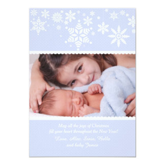 Winter Snowflakes Blue Photo Card