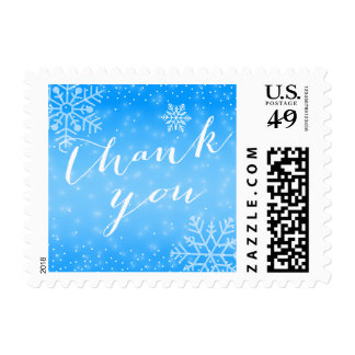 Winter Snowflakes Blue Thank You Stamps