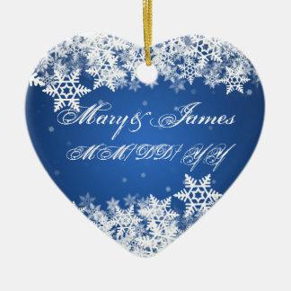 Winter Snowflakes Blue Wedding Favor Sapphire Ceramic Ornament