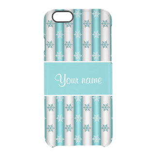 Winter Snowflakes Blue White Stripes Clear iPhone 6/6S Case