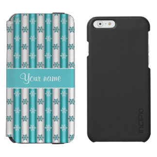 Winter Snowflakes Blue White Stripes iPhone 6/6s Wallet Case