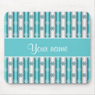 Winter Snowflakes Blue White Stripes Mouse Pad