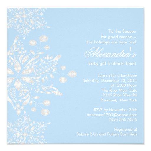 winter snowflakes boy baby shower invitation square invitation