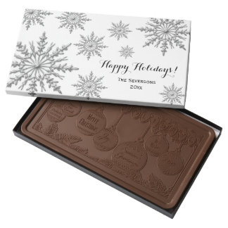 Winter Snowflakes Happy Holidays Milk Chocolate Bar