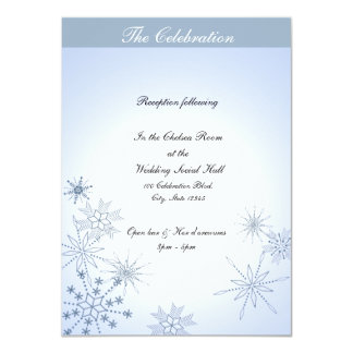 Winter Snowflakes Ice Blue 4.5x6.25 Paper Invitation Card