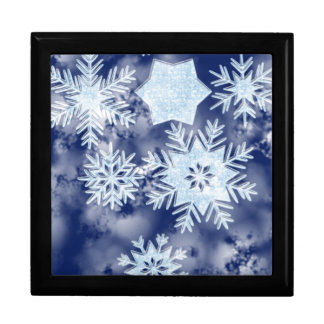 Winter Snowflakes Icy Blue Keepsake Box