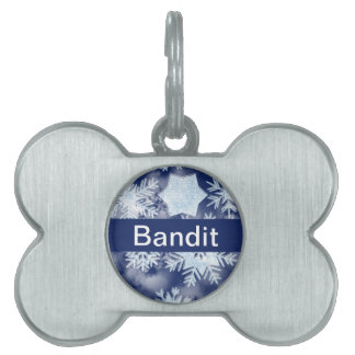 Winter Snowflakes Icy Blue Pet Name Tag