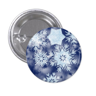 Winter Snowflakes Icy Blue Pinback Button