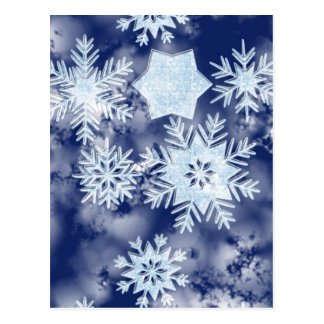 Winter Snowflakes Icy Blue Postcard