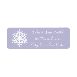 Winter Snowflakes in Lavender Return Address Label