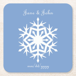 Winter Snowflakes in Periwinkle Paper Coaster