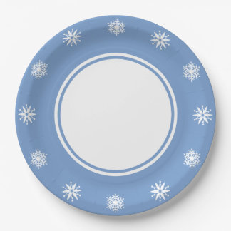 Winter Snowflakes in Periwinkle Paper Plate