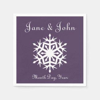 Winter Snowflakes in Purple Napkins Paper Napkin