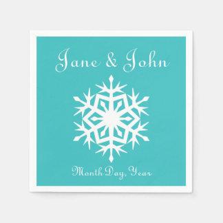 Winter Snowflakes in Turquoise Napkins Paper Napkin