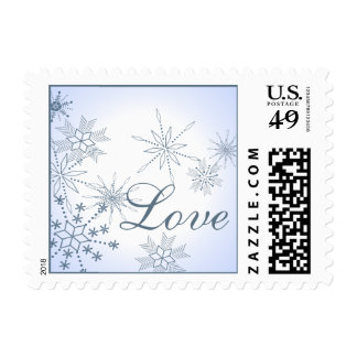 Winter Snowflakes Love Blue Ice Postage Stamps