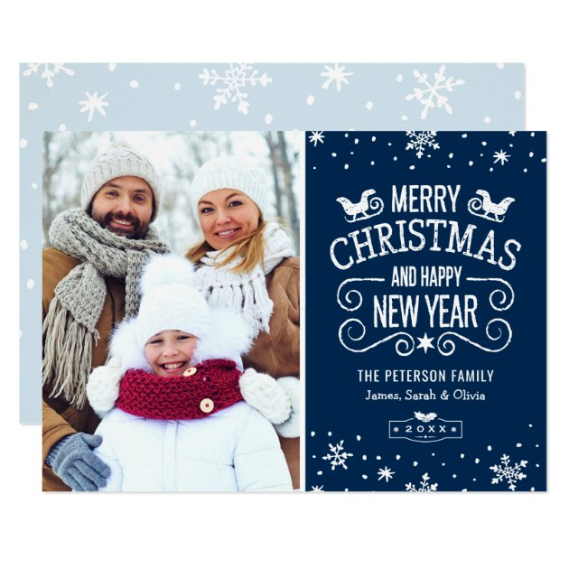 Winter Snowflakes Navy Blue Merry Christmas Photo Card (front side)