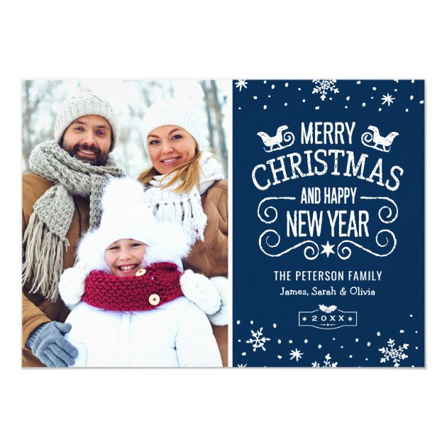 Winter Snowflakes Navy Blue Merry Christmas Photo Card (back side)