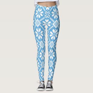 14294956c43e62 Winter Snowflakes Nordic Knit Sweater Blue White Leggings