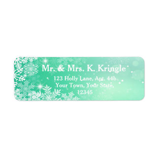 Winter Snowflakes On Green Address Labels