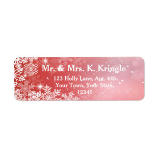Winter Snowflakes On Pink Address Labels