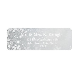 Winter Snowflakes On Silver Address Labels